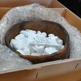 Prehistoric vessel packaged in a box