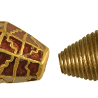 two gold and garnet beads