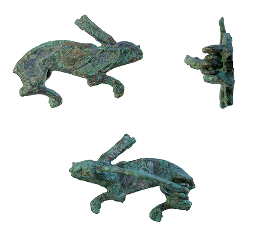 front back and side of hare brooch