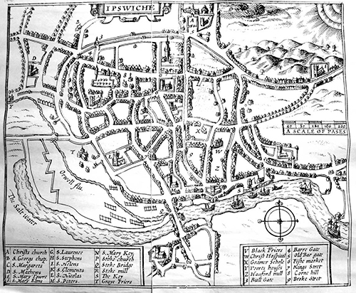 black and white map of Ipswich by Speed in 1610