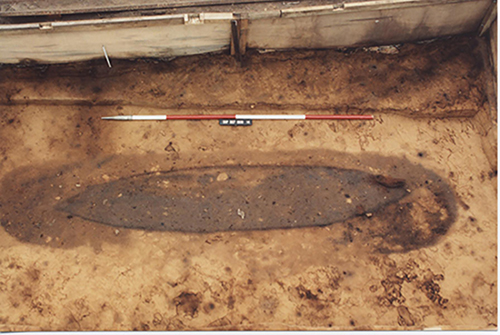 Outline of the burial boat seen during excavation