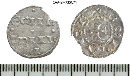 a photo of silver coin front and back