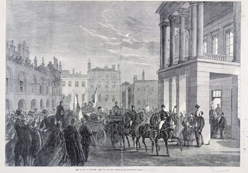 Drawing of Garibaldi arriving at Stafford House in London