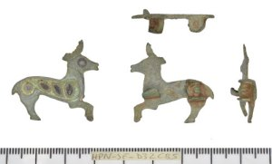 top, both sides and underneath of zoomorphic plate brooch