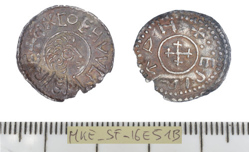 front and back of a silver penny of Coenwulf of Mercia