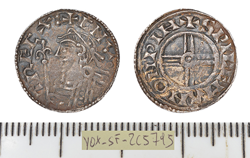 front and back of a Early Medieval Penny of Cnut