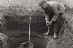 Sepia photo closeup of basil excavating kiln