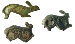 three bronze hare shaped brooches