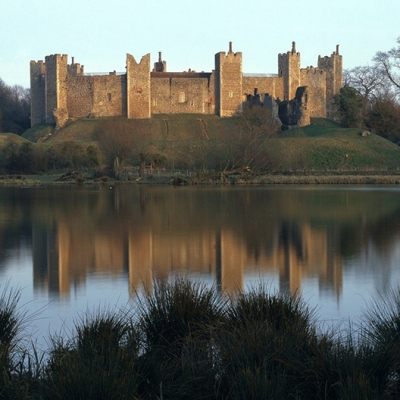 A view of the castle from across the mere