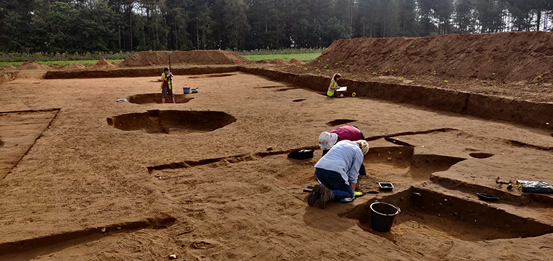 four people digging and recording in a trench